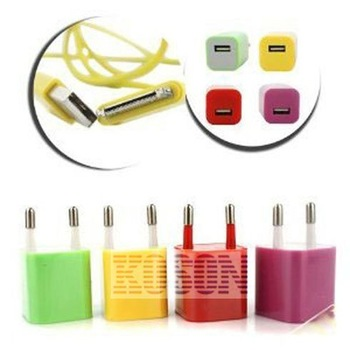 Wholesale 100pcs/lot Free Shipping color EU Mini Plug USB AC Power Adapter Charger for iPhone 4G 4S PA006