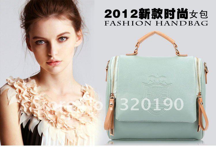 Free shipping 2pcs/lot,good quality PU handbags fashion 2012 new designer cheap handbag tote bag HB-10(China (Mainland))