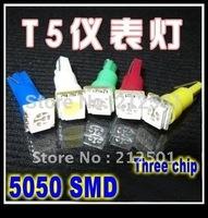 Free shipping  wholesale  50pcs/lot  Car Led Light White T5 5050 1 SMD Dashboard Bulb