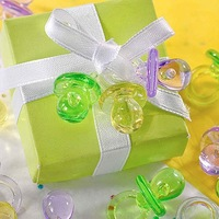 Free shipping-100pcs Mini Acrylic Clear Green Pacifier Baby Shower Favors~Cute Charms ~Party Decorations