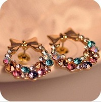 Min.order is $15 (mix order)2012 women's fashion delicate exquisite inlay Diamond bowknot  jewel earrings Stud Earrings AQ0286
