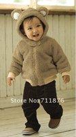 Retail Animal model coral children fleece jackets three - layer cotton Velvet good quality hoody baby winter coat, 1pcs