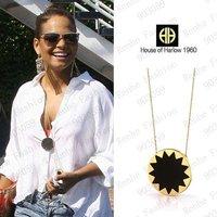 Fashion harlow quality black leather sunburst necklace wholesale/retailer