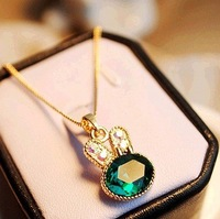 Min.order is $8 (mix order), Promotion Pop Jewelry, Fine Lovely Green Gem Rabbit Pedant Short Necklace N039