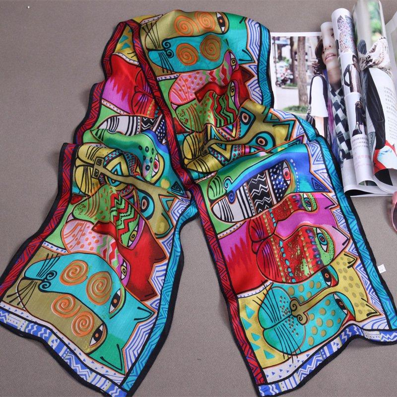 Free shipping Silk scarf abstract animal silk scarf 100% silk cat 40 - 41(China (Mainland))