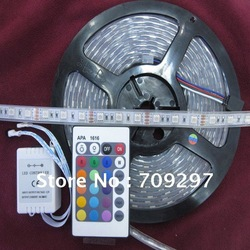 5m 300LED IP67 Tube waterproof RGB 12V 5050 LED Strip light/Outdoor lights + 24 keys IR Remote Controller(China (Mainland))
