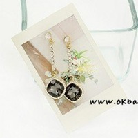Free shipping  square Austrian crystal earrings earrings - the meteor tears 4223