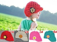 wholesale handmade cute flower baby knit hat infant flower hat cute baby hat infant crochet cap 10pcs/lot mix free shipping