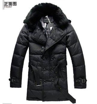 Free shipping !! 2014 Men's Brand winter fashion Beaver rabbit hair collar double row button down jacket down dust Coat / M-XXXL