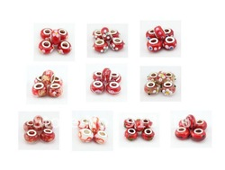 New style Fashion Red Color Gold dust loose DIY disco Lampwork murano glass beads spacer fit European bracelet Jewelry Findings(China (Mainland))