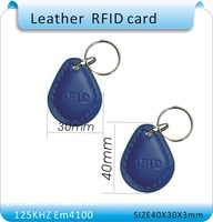 Wholesale 100pcs/lot RFID Proximity Access Control Card rfid tag 125Khz ( ID card Leather keychain)