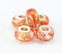 50pcs Wholesale European charm gold -sand orange  DIY beads Fashion Lampwork Glass Beads fit  Bracelet  jewelry findings GB028
