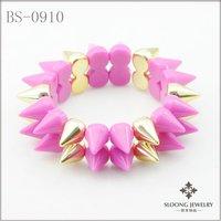 fashionalbe fuschia color bangles handmade bracelets spike bracelets best gift for friend 12pcs/lot -free shipping