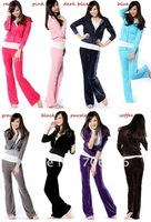 FREE SHIPPING,lady sport suit, Velour made, girl's hoodies,Women clothes 2set/bag sell.can choose color & size,or wholesale