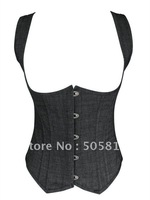 cheapEST price Sexy black denim under bust corset bustier Women body lify shaper sexy bodusuit liingeries Wholesale retail QM840