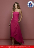 chiffon strapless rouched waist baby blue bridesmaid dresses tea length pink wedding dresses