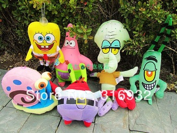 J1 New 2013 Spongebob Square Pants Family Patrick Star the Octopus Brother Crab Lint  Plush Toy , 6pcs/lot