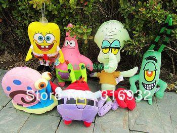 J1 New 2013 Spongebob Square Pants Family Patrick Star the Octopus Brother Crab Lint  Plush Toy , 6pcs/lot
