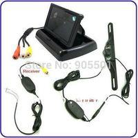 Free Shipping 4.3'' Foldable TFT LCD Wireless Car Back Up Rearview Camera Kits Reverse Sensor parking kit