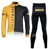 Brandnew Livestrong team black yellow Long Sleeve Cycling Jerseys and Pants Set / Spring & Autumn Cycling Wear. Free shipping!