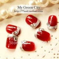 Jing wine red short paragraph a perfect quality export the original single nail art SMT/false nails SMT