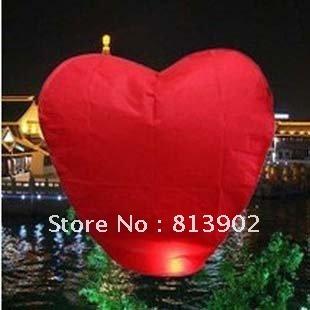 Free shipping 10pcs/lot Red Heart shape Chinese Sky Wish Lantern Ballons Flying Wishing Lamp ,SL024(China (Mainland))
