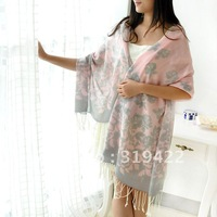Teachers day gift pure wool print ultra long female scarf cape