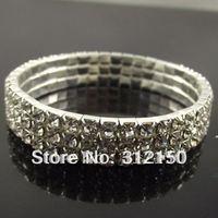 12pcs/lot fashion bracelets Free shipping 3 rows Full drill Shiny Crystal elastic Bracelet elasticity