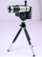 Aluminum alloy 12 x Zoom Optical Lens Phone Telescope Camera Lens with Tripod for iPhone Smart Mobile Phone, Free Shipping