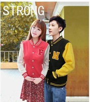 Two Colors  2012 Autumn Winter Men's Women's Korean Shoes Embroidery Sport NO 23 Varsity Baseball Jacket S-XL
