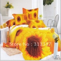 Free Shipping Wholesale 100% Cotton Queen Bedding Quilt Doona Duvet Covers Sets 4pc canlanrensheng sunflower