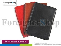 200 PCS/LOT For Amazon Kindle 4 4th Generation 2011 Ebook Reader PU Leather Back Hard Case Cover Pouch Skin With logo