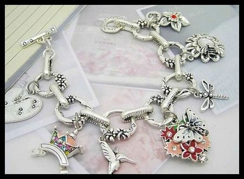 Free Shipping Min Order Mixed 5PCS Funny Charm Bracelet Fashion Jewelry High Quality Gift Package #JCB007-Silver