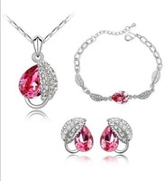 women white glod Platinum plated crystal jewelry sets wedding heart necklaces charm bracelet hoop stud earrings 9-206