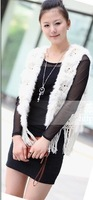 Rabbit  Fur  vest /lady Waistcoat with Tassel and Flower / Topsale/ Drop sale