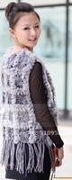 Rabbit  Fur  vest /lady Waistcoat with Tassel  & Flower