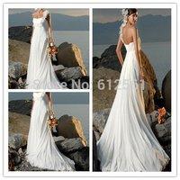 2012 fashion New Designer One Shoulder Flower High Wasitline Chiffon Satin Beach Bridal Frock