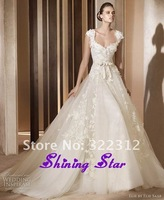 New Arrival Elie Saab White A-line Tulle Sweetheart Cap Sleeves Appliques Floor length Wedding Dress for Bridal