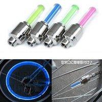 Wholesale - 10pcs/lot Car Bike Bicycle Tire Wheel Valve Led Flash Light Cycling