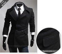 Wholesale - Fashion Slim Fit Men Casual trench coat Mens Long Winter Coats Mens Wool #3918