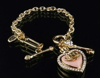 Mixed 5PCS/Pack Charm Bracelet Heart Logo Pendants Jewelry Free Shipping High Quality Gift Package #JCB-05-Gold