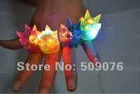 Free shipping 50pcs/lot 3*4cm 4color led finger ring with crown led finger light wholesale for wedding favors