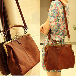 WHOLESALE!!!!2013 1pcs New Women's Brown Europe Retro Vintage Shoulder Purse Handbag Totes100-22(China (Mainland))
