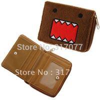 Comfortable Plush Domo Pattern Design Rectangular Wallet Purse with One Zipper (Brown)