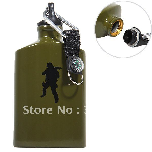 Perfect Soldier Image Flat Shaped Aluminium 550ml Drinking Bottle with Compass and Carabiner (Army Green)(China (Mainland))