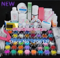 wholesale - UV GEL NAIL KIT 48 Powders 10 Glues FILE BLOCKS Primer Tips Set clippers 217 Free shipping