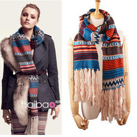 Autumn and winter the queen asuka bohemia national trend knitted jacquard tassel yarn large scarf