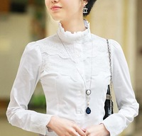 Free Shipping 2012 NEW Cotton long-sleeve shirt Fashion ruffle lace women blouse White Retail