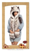 Wholesale Price!!! 2011 NEW Original SPIRIT FLUFFY PLUSH ANIMAL WINTER HATS WITH LONG SCARF AND MITTENS WOLF