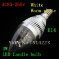 AC85V-265V 3W E14 LED Light  Candle Bulb  White&Warm White LED Lighting Free Shipping